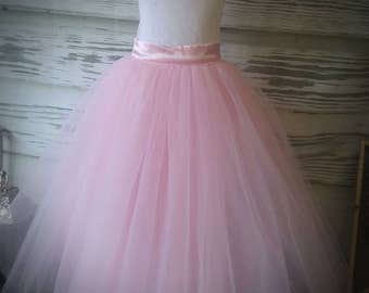 Free Shipping to USA Custom Made Light Pink Tulle Skirt-Light Pink Floor Length Tulle Skirt -Country Wedding,Rustic Wedding for Flower girl