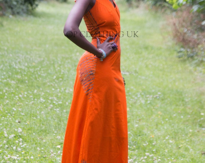 Tye dye dress, Orange dress, African dress,