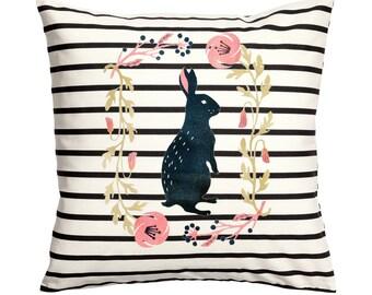 Vintage Rabbit -Throw Pillow- Decorative Pillow-Throw Pillow Cover