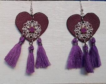 Purple Leather heart earrings