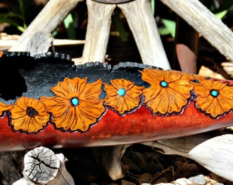 Decorative Gourd Art//Western Floral Design//Home Decor//Natural Home Decor//Mountain Home//Organic Nature//Home Sweet Home