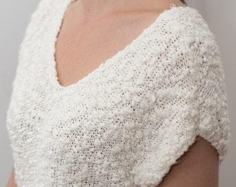 White sleeveless textured knit top vintage