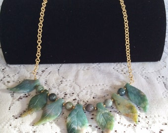 Fancy Jasper Necklace - Semi Precious Gemstone Shaped Bead Necklace