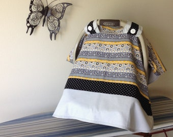 Car Seat Canopy - Baby Carrier Cover - Sunflower, Yellow  Black White - Girl - Baby Shower Gift