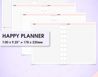 Notes inserts happy planner printable (grid notes paper printable, dot grid notebook, lined paper, printable graph paper, Cornell notes)