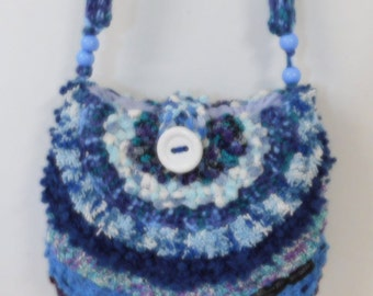 Blue knitted bag, handbag, shoulder bag, beautiful in blues handmade bag with matching scarf