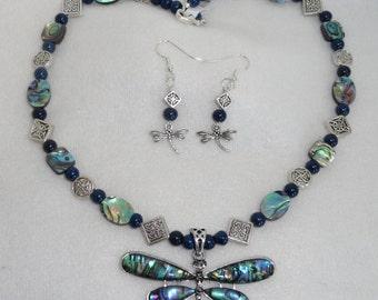 Celtic Abalone Dragonfly Necklace Set