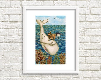 Lady Riding Whale Illustration, Art Print