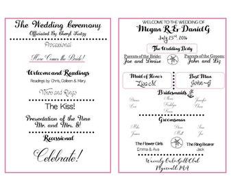 Wedding Double-Sided Printable Fan Program