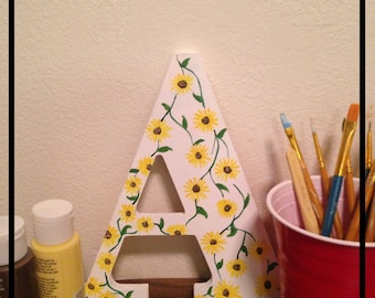 Floral Wooden Letter A Hand Painted
