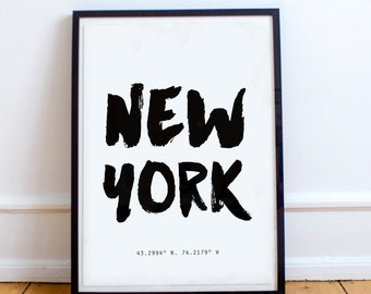 New York State, Poster, NY Coordinates,typography poster, US States, prints, framed print, large wall art, artsy, unique gifts