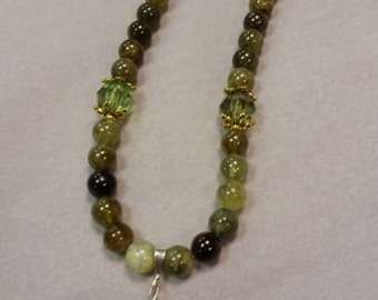 Agate and Blown Glass Necklace