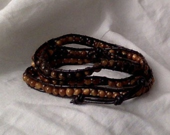 leather wrap bracelet - dark brown