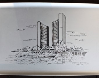 Toronto/Vintage Mid Century Brushed Aluminum Toronto City Hall Commemorative Serving Tray/ Toronto Canada/ Metal Tray
