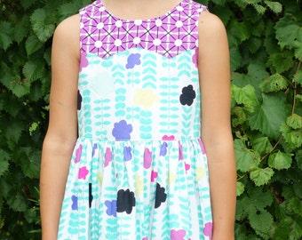 Girls floral party dress - girls birthday dress - girls twirl dress  - floral dress - ready to ship size 6