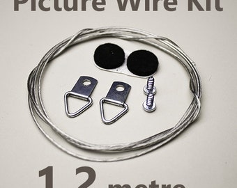 Picture Hanging Wire Kit(1.2 metre) incl coated wire, D-rings, screws, felt bumps