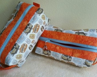 "Box Pouch - 9.5"" long x 5"" wide x 3"" tall - RV/Camper pattern with Orange contrast & interior"