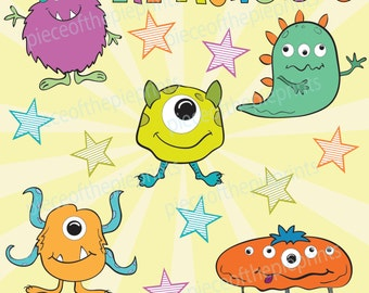 50% off INSTANT DOWNLOAD Clipart/monsters/hand drawn clipart/digital image/personal/commercial