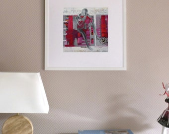 Small print, figurative art, pink, red, grey, contemporary painting, acrylic painting, modern art, wooden mannequin, jet ink, giclee print
