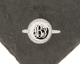 925 Sterling Silver CZ Monogram Ring, Single Ring, Monogram Ring, Sterling Silver