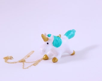 Whimsical Unicorn Necklace with Gold Horn and Hooves and An Aqua Mane and Tail Great For Mothers Day or Girlfriend Gift Under 50