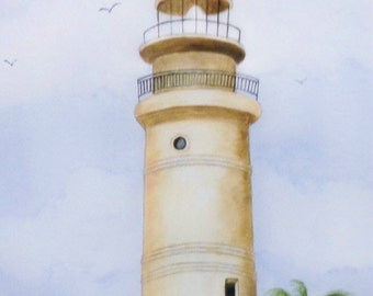 Old Key West Lighthouse, Realistic watercolor painting of the Key West Lighthouse before it was restored and painted white.