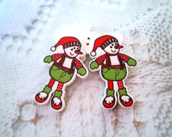 Elf Buttons Christmas Buttons Wood Buttons Printed Buttons Wooden Buttons DIY Button Craft Cartoon Sewing Knitting Crochet Buttons Kids Doll
