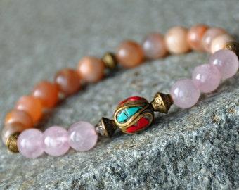 Healing Heart,Sunstone, Rose Quartz Love Bracelet,Tibetan Mala,Chakra Gemstone Bracelet,Buddhist Jewelry,Japa mala,Meditation Reiki Bracelet