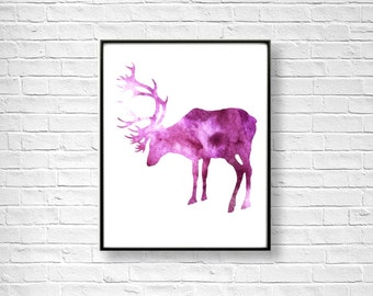 Watercolor Art Print, Deer Print, Home Wall Décor, Animal Art Printable, INSTANT DOWNLOAD