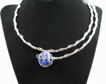 Beautiful silver handcrafted Hepburn Choker Necklace with Semi Precious Stones and Crystals