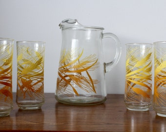 Vintage Libbey Glass Pitcher and 4 Glasses Autumn Wheat