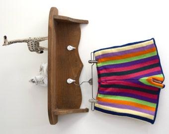 vintage Skåne rainbow striped wool shorts // girls size 10/12