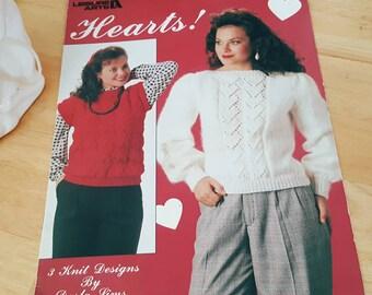 Leisure Arts Leaflet 773 Hearts! Sweaters Knitting Pattern Leaflet ReTrO