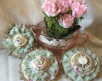 Shabby Chic Fabric Flowers, Cottage Chic Flowers,Dusty Green Fabric embellishment, Vintage Flower, Cottage Chic Decor, Girls Headband flower