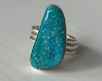 Turquoise Mountain Triple Band Sterling Silver (9.25)  Ring - size US 6 3/4 or UK N