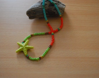 Beaded Bright Starfish Beach Necklace