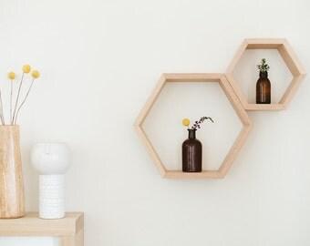 Hexagon Shelves in Tasmanian Oak