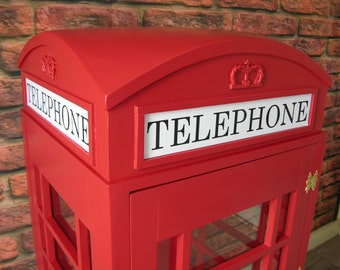 Red British Telephone Box Wooden Cabinet Half size Replica