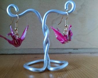 Rust Origami Crane Earrings (Medium)