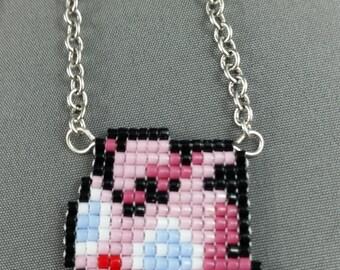 Jigglypuff Necklace - Pixel Necklace Pokemon Necklace Pixel Jewelry 8 bit Necklace Seed Bead Neklace Video Game Necklace Ferret Necklace