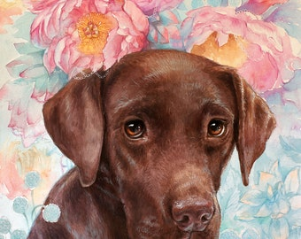 Custom Watercolor Pet portrait lab flowers High Quality Realistic painting from your photographs labrador  Art anniversary present dog lover