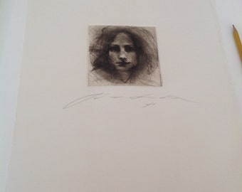 Art print, chalcographic engraving, drypoint. face #004