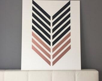 Two-color arrows on canvas - Rosé & Black