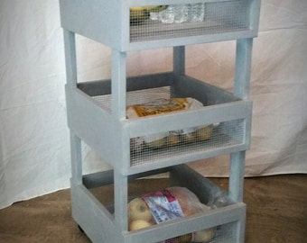 Rustic Kitchen Crate Cart / Craft Cart / Potato Box / Shelf / Island Cart