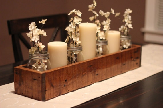 Rustic table centerpiece wooden box farm garden