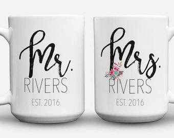 Mr and Mrs Mugs, His and Hers Coffee Mug Set, Wedding Mugs, Couples Mugs, Engagement Gift, Wedding Gift, Couples Coffee Mug, Coffee Cup Gift