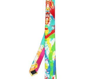 Silk Tie Paint Splash Design Skinny,Luxury Necktie,Wedding Tie,Evening Wear,Birthday Gift,Wildcard Silks,Accessory,Mens Tie,145x5cms