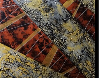 """Abstract canvas, acrylic, resolutely modern, work at the copper and gold tones """"ABSTRACTION 9"""""""