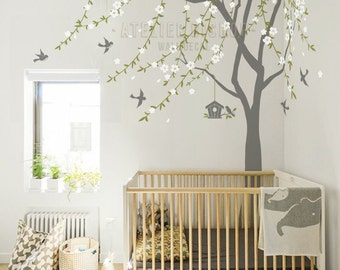 Subtle flowery vines in the wind tree with birds and birdhouse wall decal wall sticker wall mural for home