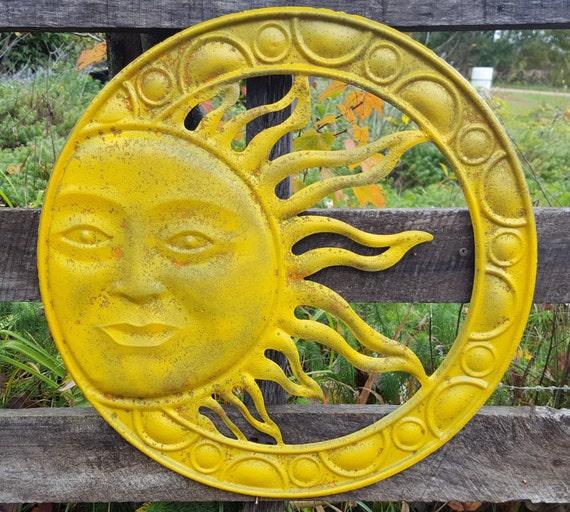 Yellow Sun Wall Decor : Large metal sun wall art disressed yellow garden decor